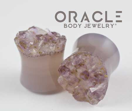 "5/8"" (16mm) Druzy Rough Amethyst Double Flare Plugs"