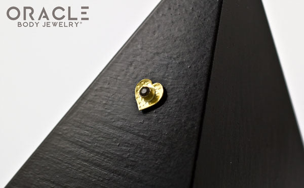14k Hammered Heart with Smoky Quartz Threadless Gold End