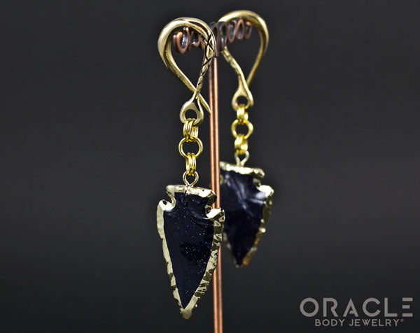 Crossover with Gold Plated Blue Goldstone Arrowheads