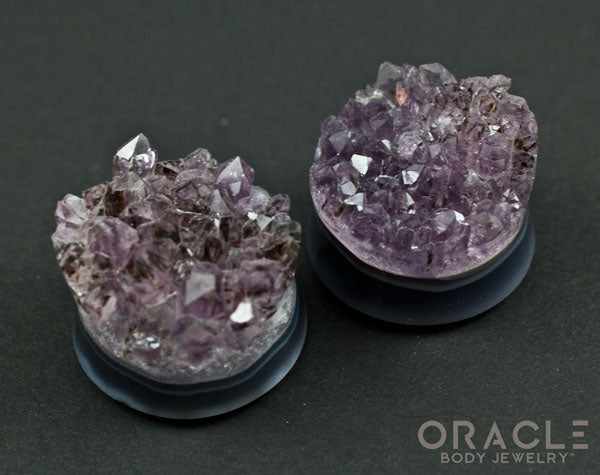 "1-1/8"" Double Flare Druzy Rough Amethyst Plugs"