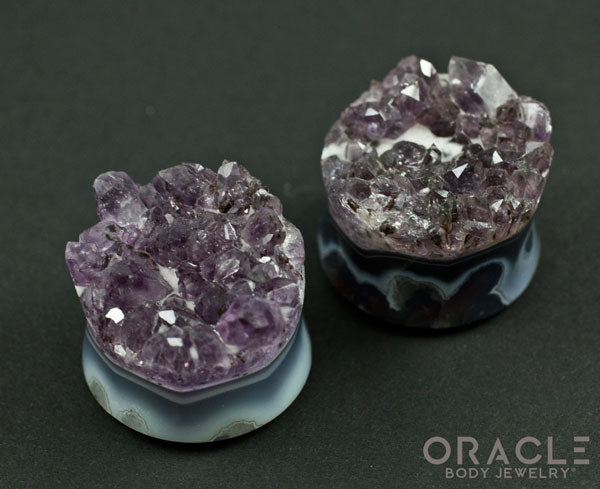 "1-1/8"" (28mm) Druzy Rough Amethyst Double Flare Plugs"