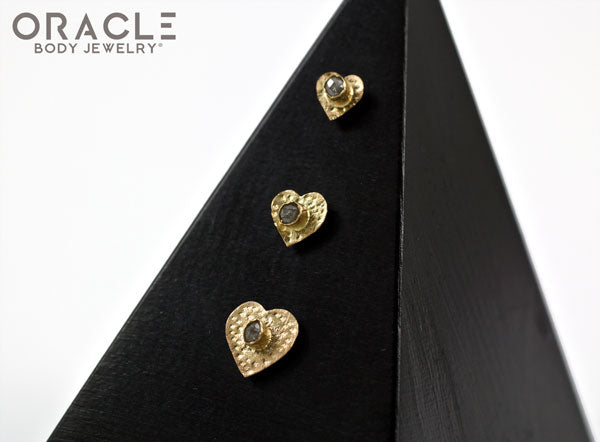 14k Hammered Heart with Rough Diamond Threadless Gold End