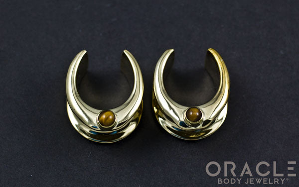 "3/4"" (19mm) Brass Saddles with Yellow Tiger Eye"
