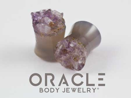 "1/2"" (12.5mm) Druzy Rough Amethyst Double Flare Plugs"