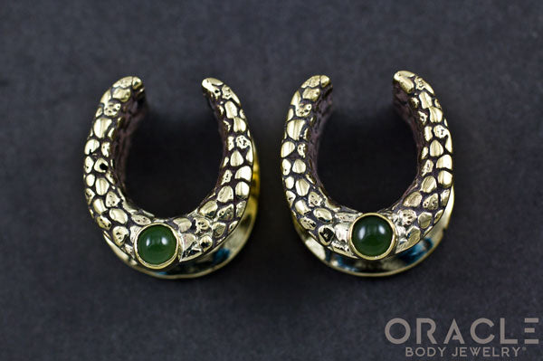 "5/8"" (16mm) Brass Saddles with Nugget Texture and Nephrite Jade"