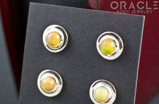 Sterling Silver Eithiopian Opal Earrings
