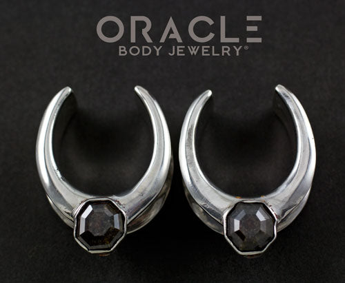 "1"" (25.4mm) Solid Silver Saddles With Dark Salt and Pepper Diamonds"