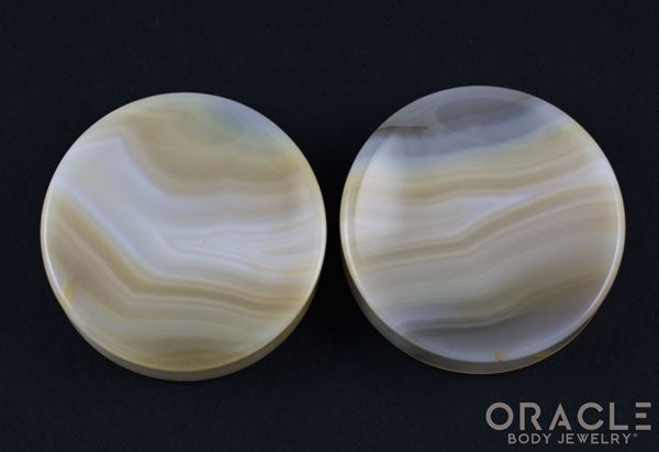 "2-1/4"" Montana Agate Concave Plugs"
