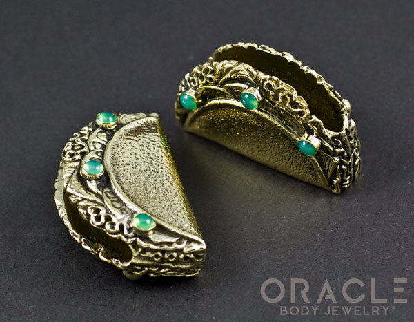 Taco Brass Weights with Chrysoprase