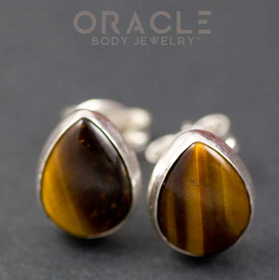 Sterling Silver Yellow Tiger Eye Earrings