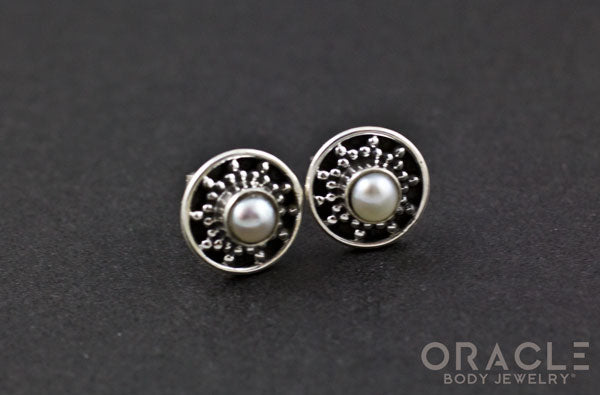 Sterling Silver Genuine Pearl Earrings.