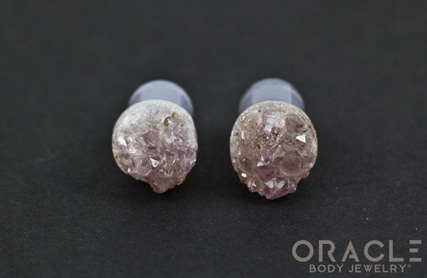 00g (9.5-10mm) Druzy Rough Amethyst Single Flare Plugs