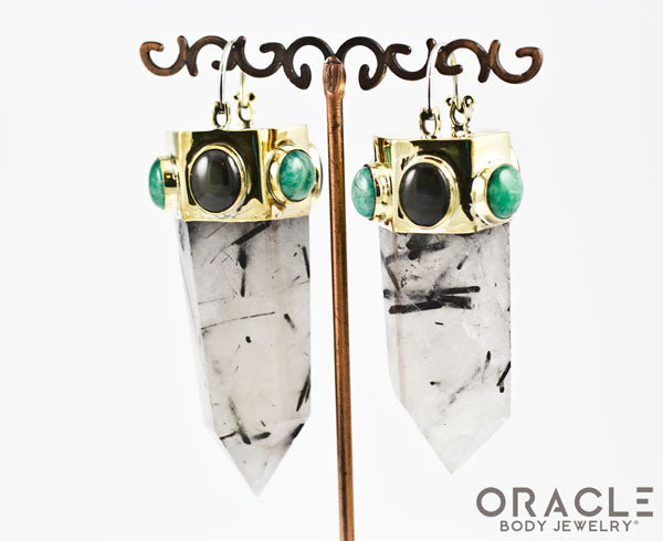 Zuul with Tourmalated Quartz Points and Amazonite and Rainbow Obsidian Accents