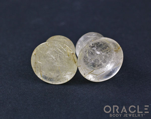 "7/16"" (11mm) Mayan Flare Rutilated Quartz Plugs"
