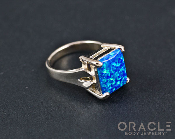 Sterling Silver Created Opal Ring Size 7.5