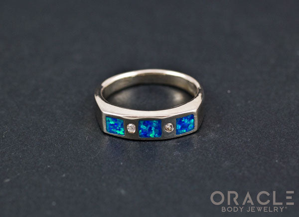 Sterling Silver Created Opal with CZ Ring Size 7.5