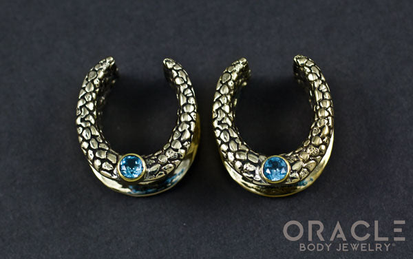 "3/4"" (19mm) Brass Saddles with Nugget Texture and Swiss Topaz"