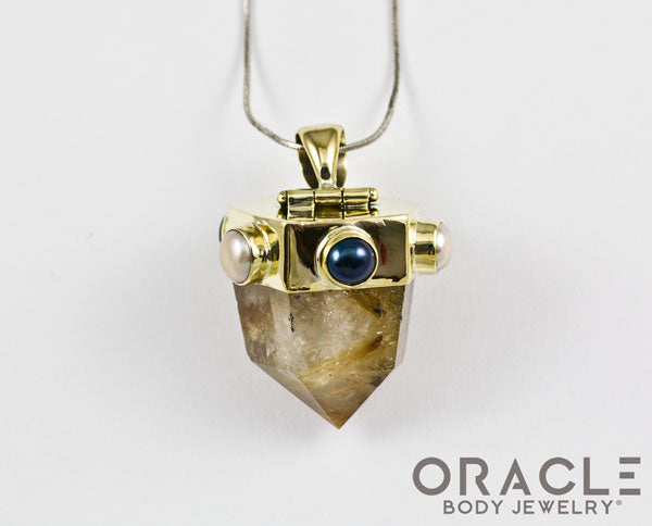 Zuul Pendant with Rutilated Quartz Points and Genuine Pearl Accents