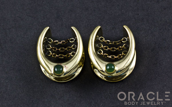 "3/4"" (19mm) Brass Saddles with Chains and Nephrite Jade"