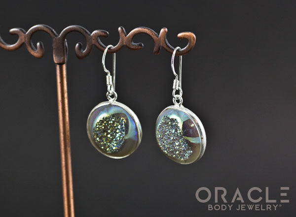 Sterling Silver Titanium Coated Druzy Earrings