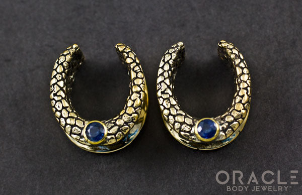 "3/4"" (19mm) Brass Saddles with Nugget Texture and London Blue Topaz"