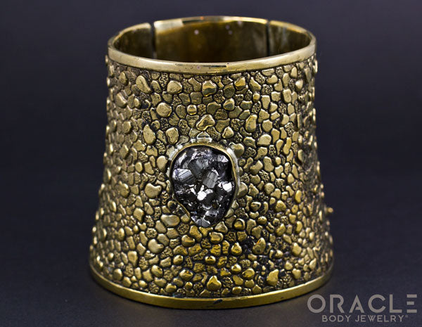 Ruler Cuff Bracelet with Pyrite