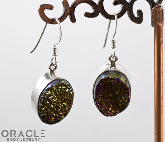 Sterling Silver Titanium Coated Druzy Agate Earrings