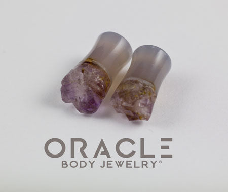 0g Druzy Rough Amethyst Double Flare Plugs