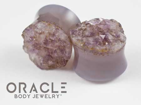 "7/8"" (22mm) Druzy Rough Amethyst Double Flare Plugs"