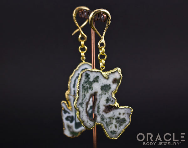 Crossover with Gold Plated Green Tree Agate