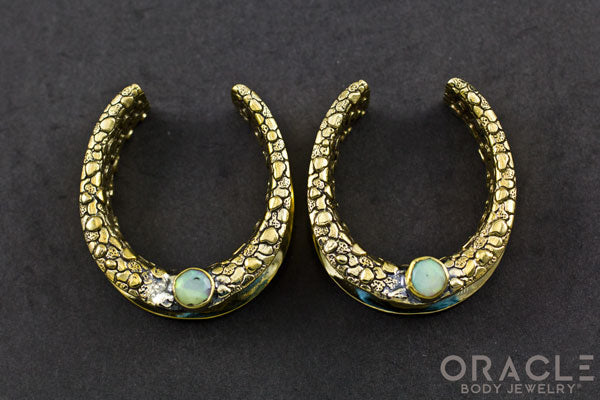 "1-1/4"" (32mm) Brass Saddles with Nugget Texture and Faceted White Opal"