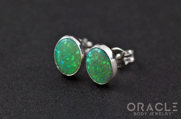 Sterling Silver Synthetic Green Opal Earrings