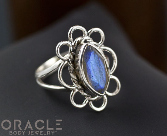 Sterling Silver Labradorite Flower Ring Size 6.5