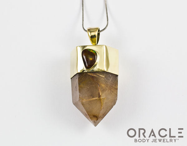 Zuul Pendant with Rutilated Quartz Points and Fire Agate Accent