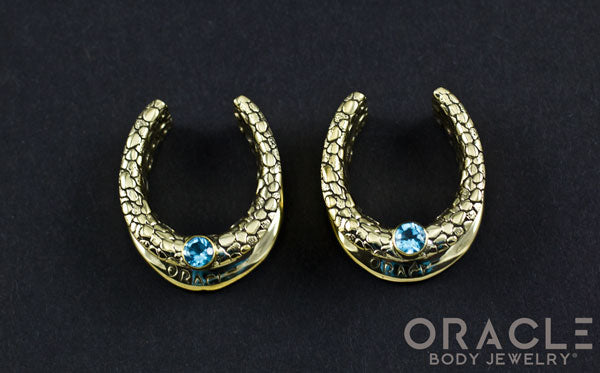 "1"" (25.4mm) Brass Saddles with Nugget Texture and Swiss Topaz"