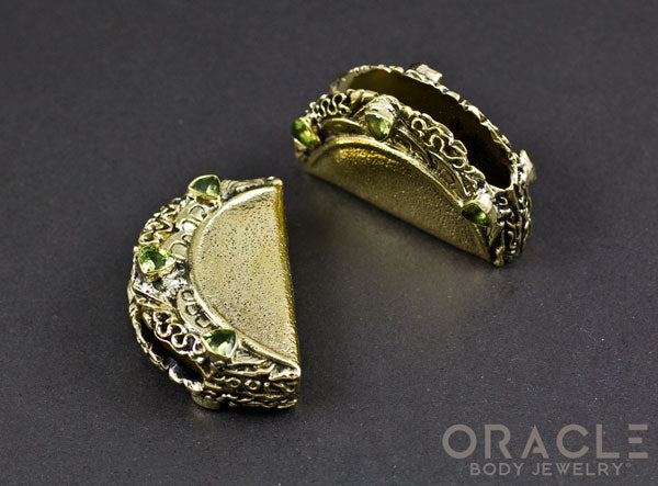 Taco Brass Weights with Faceted Peridot.