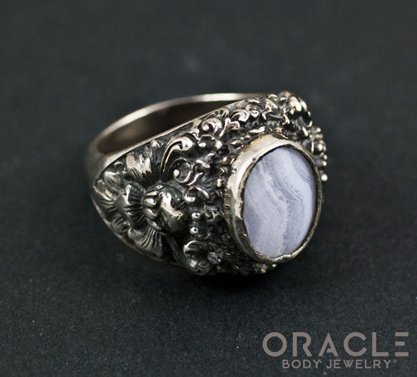 Sterling Silver Lotus Ring with Blue Lace Agate Size 10
