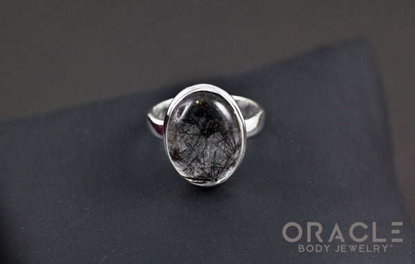 Sterling Silver ring with Tourmalated Quartz Size 7