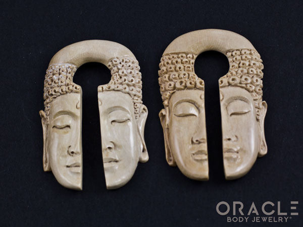 "5/8"" (16mm) Fossilized Mammoth Ivory Buddha Split Weights"
