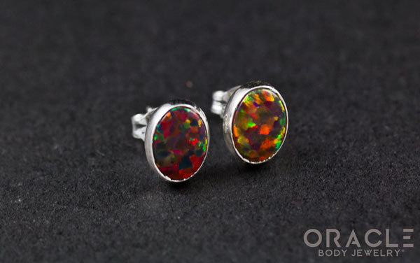 Sterling Silver Synthetic Red Opal Earrings
