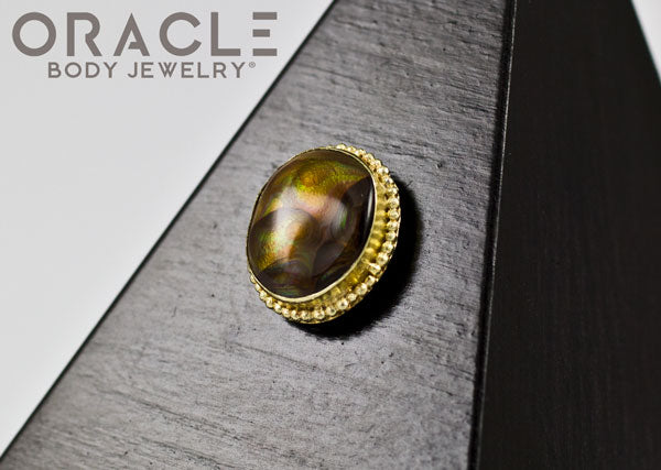 14k Fire Agate Threadless Gold End