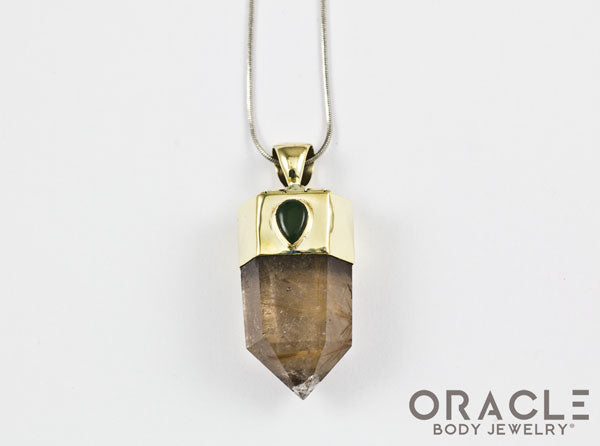 Zuul Pendant with Rutilated Quartz Points and Nephrite Jade Accents
