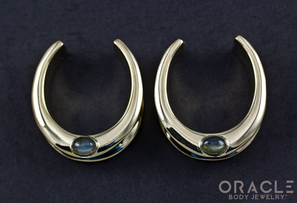 "1-1/4"" (32mm) Brass Saddles with Labradorite"