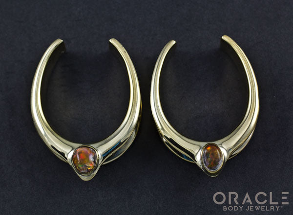 "1-1/2"" (38mm) Brass Saddles with Mexican Matrix Opal"