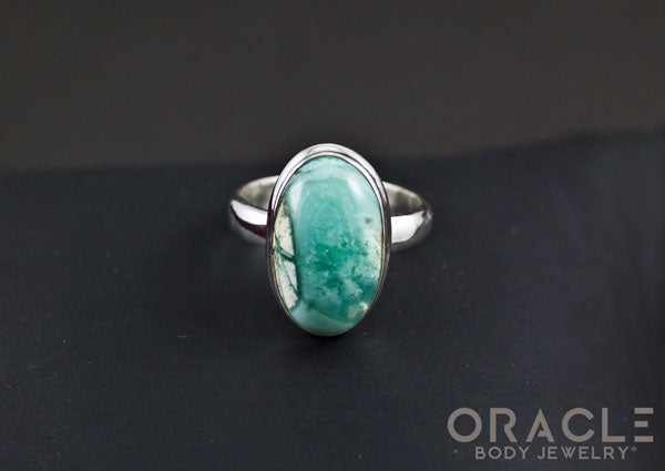Sterling Silver ring with Gem Silica Size 6.5