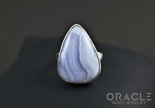 Sterling Silver ring with Blue Lace Agate Size 7