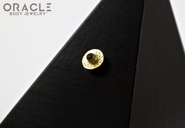 14k Hammered Disk with Ruby Threadless Gold End