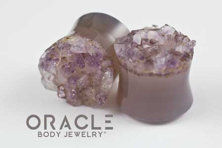 "3/4"" (19mm) Druzy Rough Amethyst Double Flare Plugs"