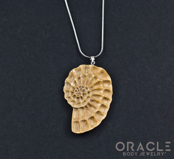 Carved Fossilized Mammoth Ivory Ammonite Pendant