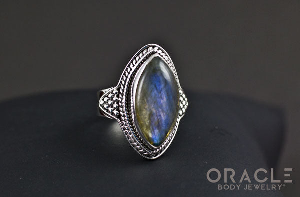 Sterling Silver ring with Labradorite Size 6.5